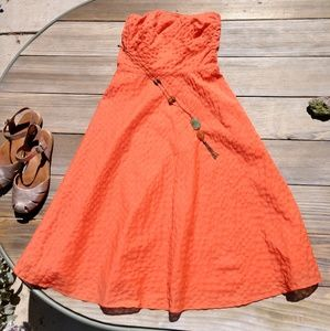 J. Crew Embossed Strapless Coral Dress